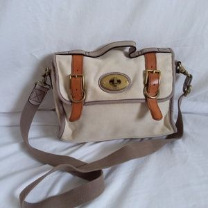 Fossil White Canvas Messenger Bag